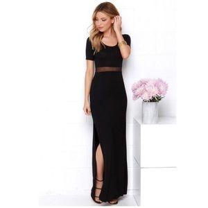 Never worn LULU's black mesh-inset maxi dress!